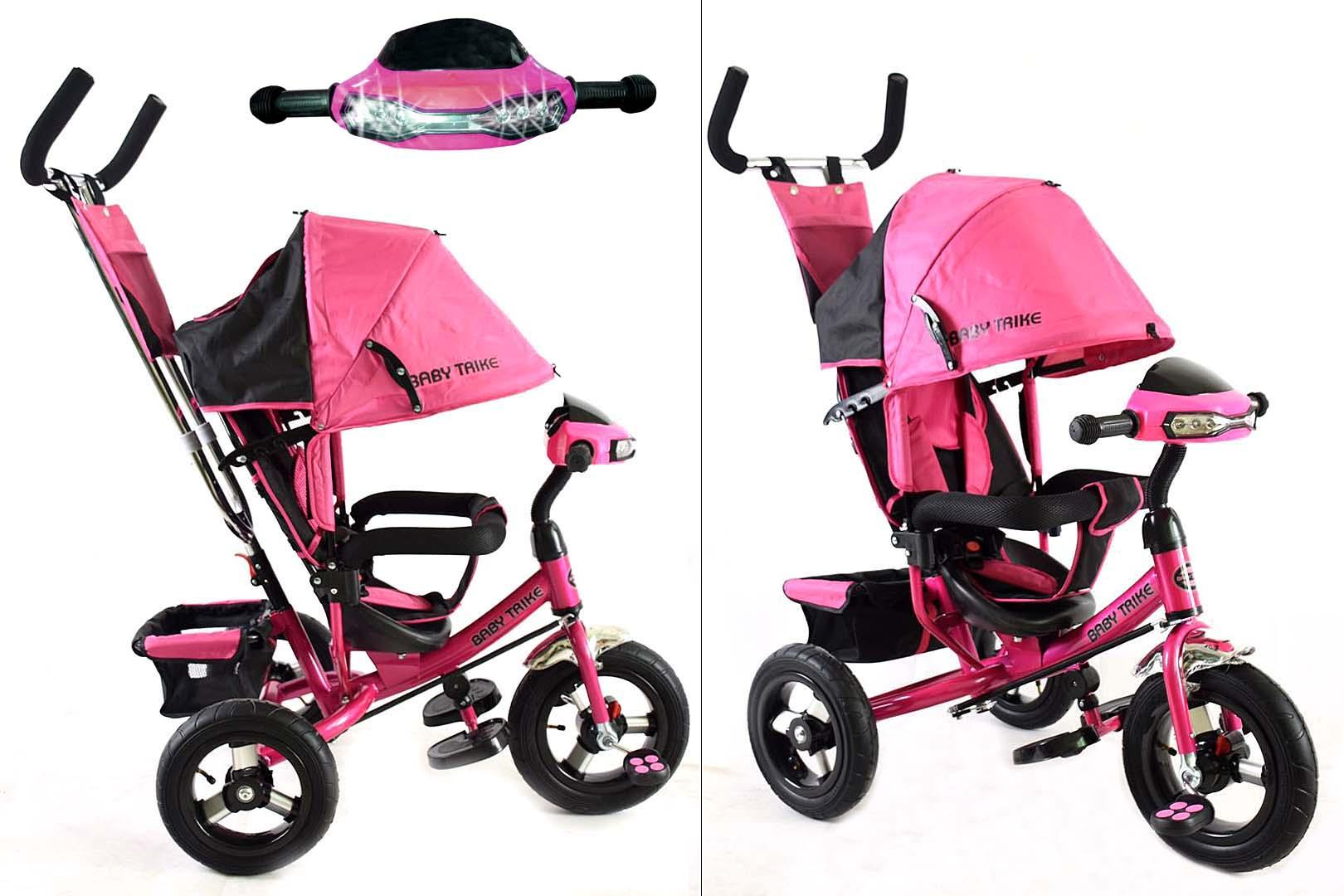 Велосипед 3х колесный YM-CBK-49 Pink (фара, свет,муз)