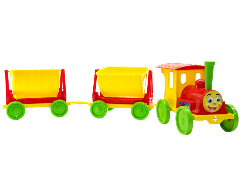 Игрушка пл. «Поезд с двумя прицепами» артикул 013118/3 красный