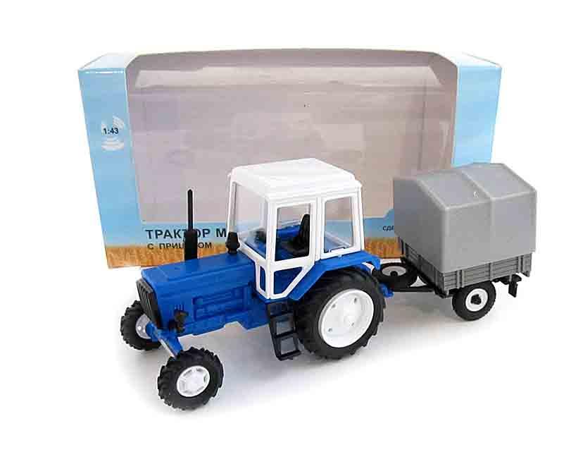 1:43 трактор МТЗ-82 (пластмасса) с прицепом с/х тент 160010