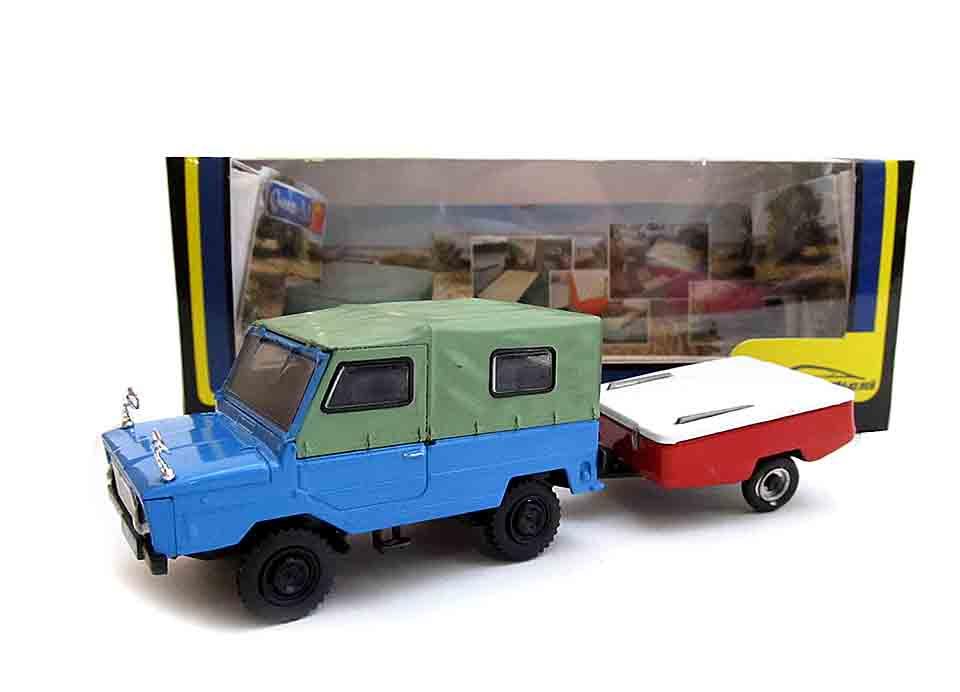 1:43 машинка ЛуАЗ-969М (зел-голубой) с прицепом Скиф-М 160731
