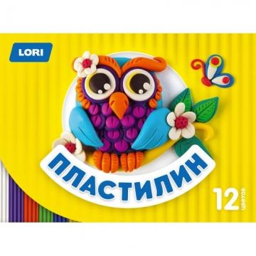 Пластилин Детский, 12 цветов, по 15 гр., стекПЛ-017