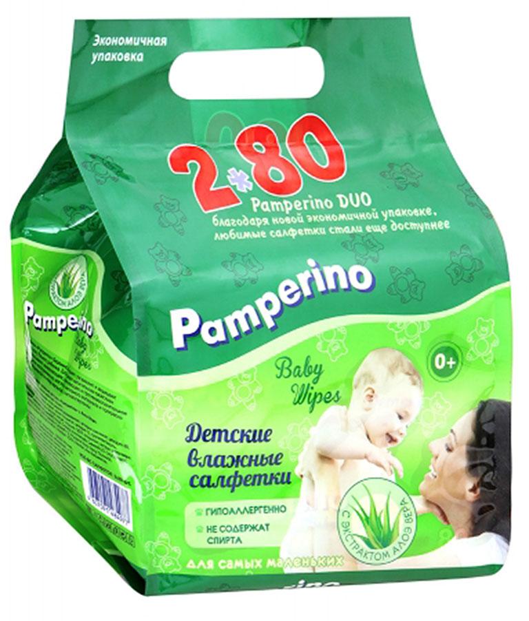 Pamperino DUO №80*2 детские влажные салфетки