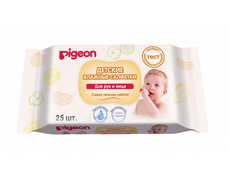 Влажные салфетки дет PIGEON для рук и рта, пустышек, игрушек, 25 шт