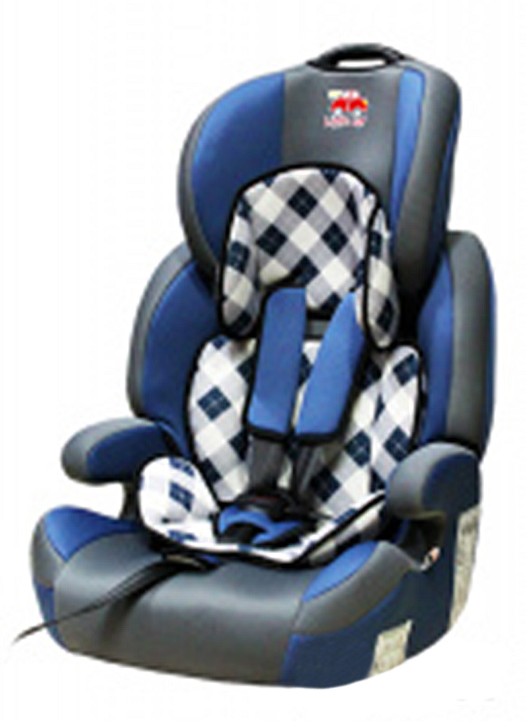 Автокресло детское 9-36кг. Little Car Brave Isofix клетка-синий 129377