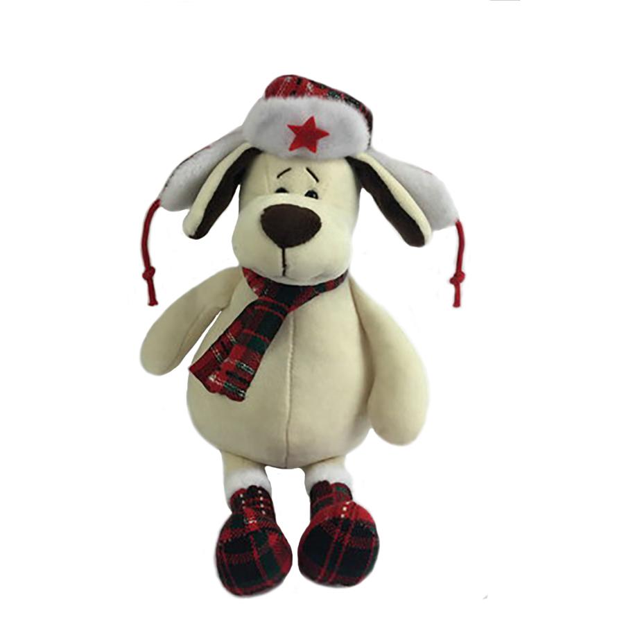 18668 Собака в ушанке с шарфом,18см