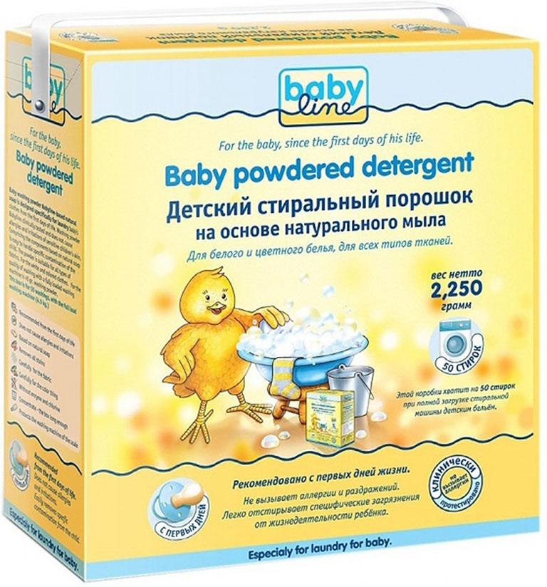 BABYLINE Стиральный порошок на основе  натурального мыла. Концентрат 2,25 кг=9 кг=50 стирок