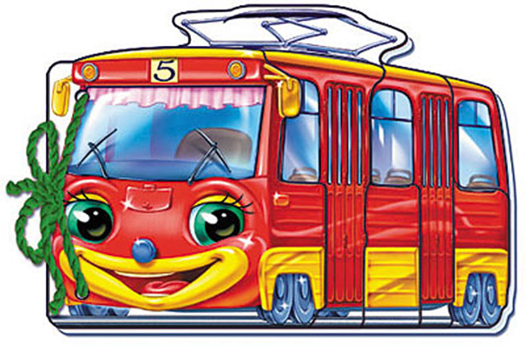 "М333003Р Мягкие машинки, ""Трамвайчик"""