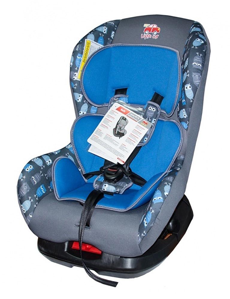 Автокресло детское 0-18кг. Little Car Soft совы-синий 125984