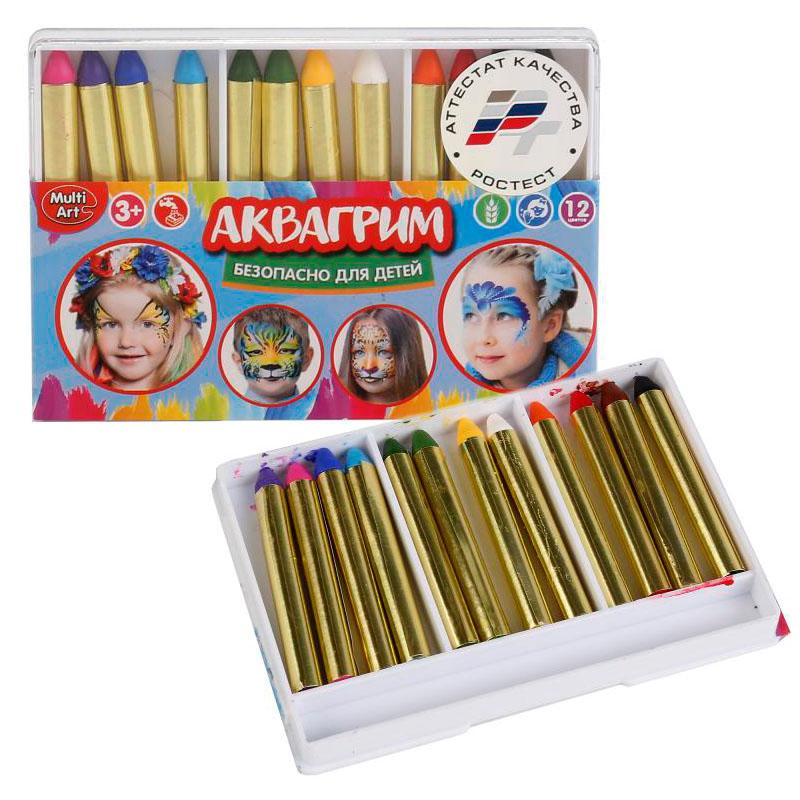 12026 Аквагрим MultiArt 12 цв. карандашей
