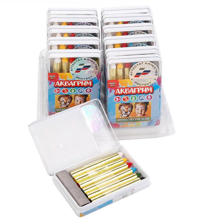 12022 Аквагрим MultiArt 6 цв. карандашей, цвет в ассорт