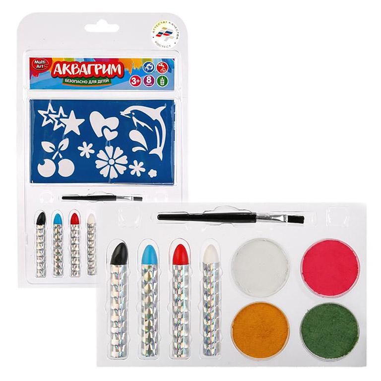 12007 Аквагрим MultiArt 4 цв. краски, кисточка, 4 карандаша,  трафареты