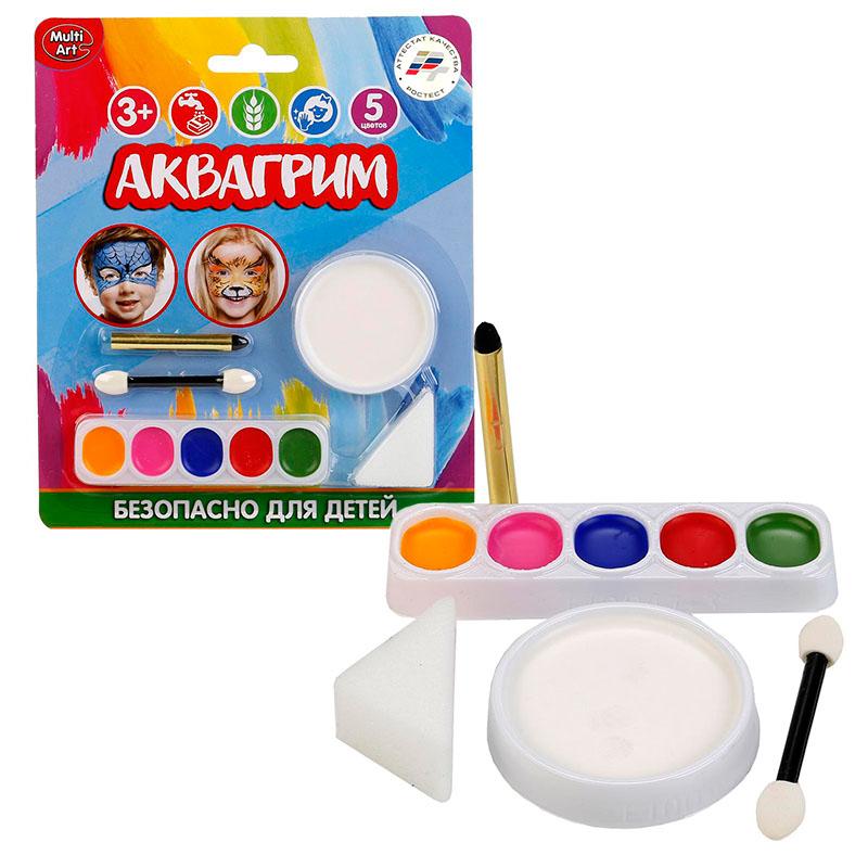 10047 Аквагрим MultiArt 6 красок, спонж, аппликатор, карандаш на блистере