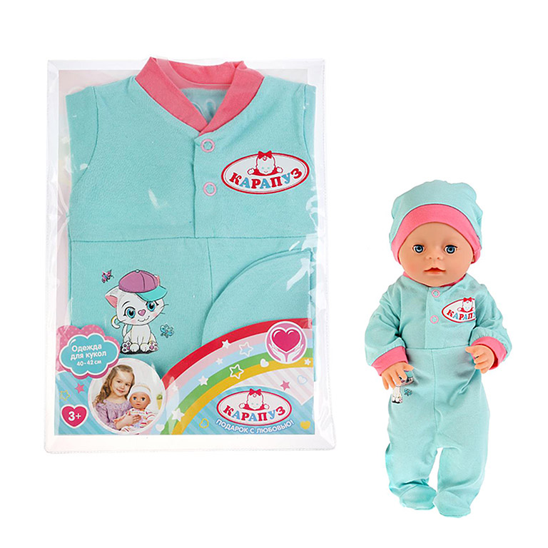 "OTF-1903CH-RU Одежда для кукол 40-42 см, комбинезон с шапочкой ""кошечка"", в пакете, Карапуз в кор.20"